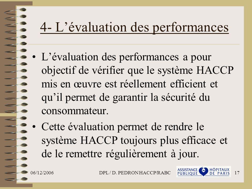 06/12/2006DPL / D. PEDRON HACCP/RABC17 4- Lévaluation des performances Lévaluation des performances a pour objectif de vérifier que le système HACCP m