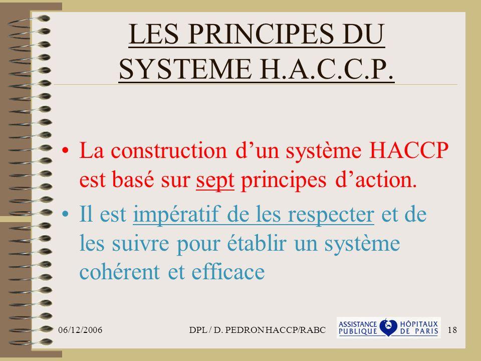 06/12/2006DPL / D. PEDRON HACCP/RABC18 LES PRINCIPES DU SYSTEME H.A.C.C.P. La construction dun système HACCP est basé sur sept principes daction. Il e