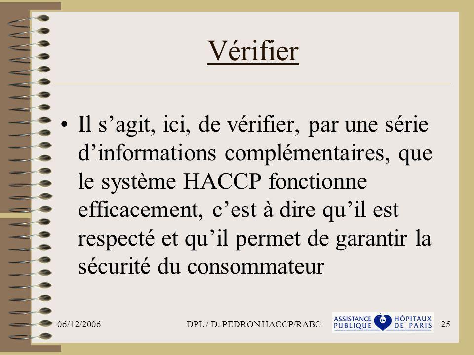 06/12/2006DPL / D. PEDRON HACCP/RABC25 Vérifier Il sagit, ici, de vérifier, par une série dinformations complémentaires, que le système HACCP fonction