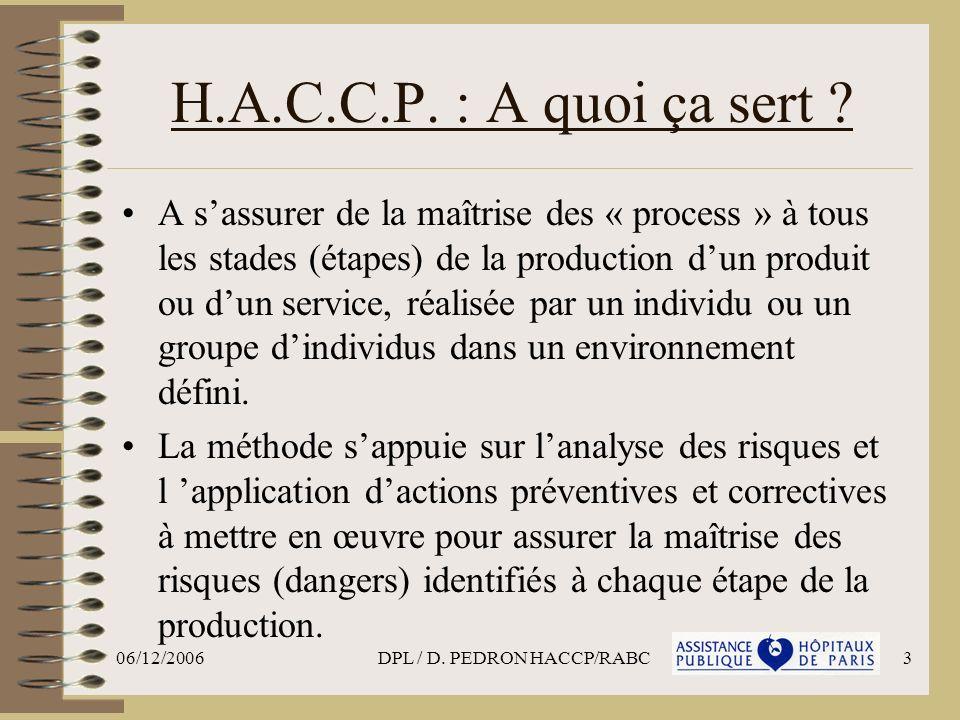 06/12/2006DPL / D. PEDRON HACCP/RABC3 H.A.C.C.P. : A quoi ça sert ? A sassurer de la maîtrise des « process » à tous les stades (étapes) de la product