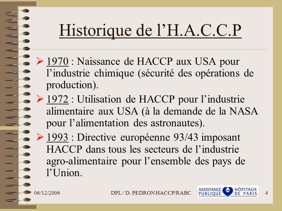 06/12/2006DPL / D. PEDRON HACCP/RABC4 Historique de lH.A.C.C.P 1970 : Naissance de HACCP aux USA pour lindustrie chimique (sécurité des opérations de