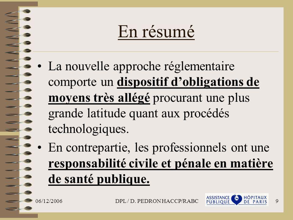 06/12/2006DPL / D. PEDRON HACCP/RABC9 En résumé La nouvelle approche réglementaire comporte un dispositif dobligations de moyens très allégé procurant
