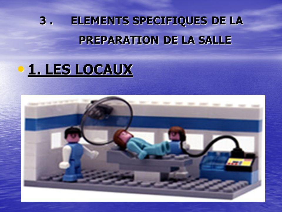 3. ELEMENTS SPECIFIQUES DE LA PREPARATION DE LA SALLE 1. LES LOCAUX 1. LES LOCAUX