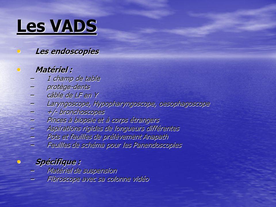 Les VADS Les endoscopies Les endoscopies Matériel : Matériel : –1 champ de table –protège-dents –câble de LF en Y –Laryngoscope, Hypopharyngoscope, oe