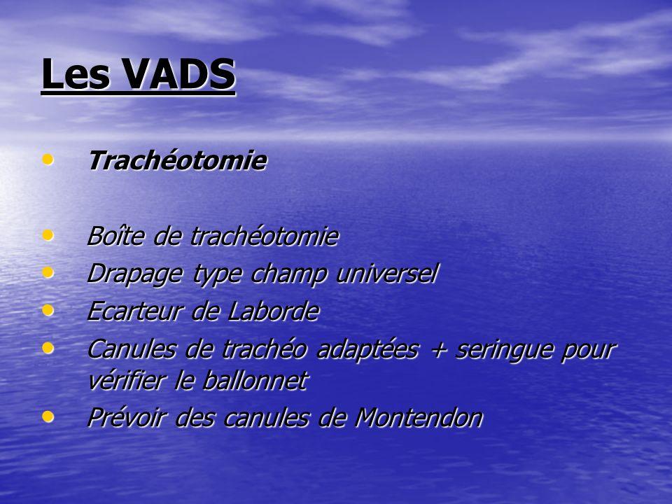 Les VADS Trachéotomie Trachéotomie Boîte de trachéotomie Boîte de trachéotomie Drapage type champ universel Drapage type champ universel Ecarteur de L