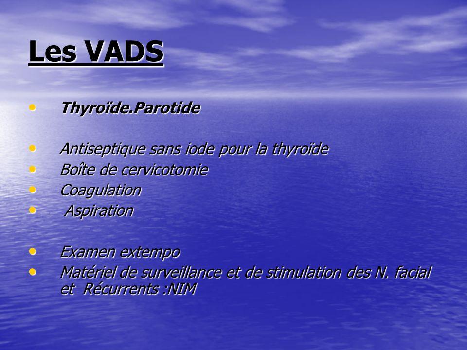 Les VADS Thyroïde.Parotide Thyroïde.Parotide Antiseptique sans iode pour la thyroïde Antiseptique sans iode pour la thyroïde Boîte de cervicotomie Boî
