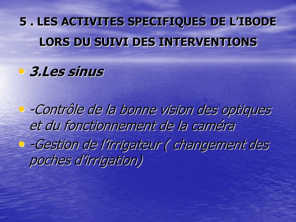 5. LES ACTIVITES SPECIFIQUES DE LIBODE LORS DU SUIVI DES INTERVENTIONS 3.Les sinus 3.Les sinus -Contrôle de la bonne vision des optiques et du fonctio