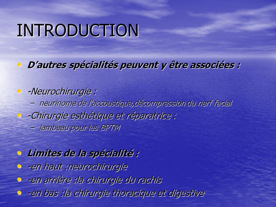 INTRODUCTION Dautres spécialités peuvent y être associées : Dautres spécialités peuvent y être associées : -Neurochirurgie : -Neurochirurgie : –neurin