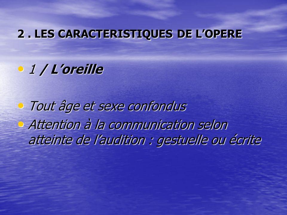 2. LES CARACTERISTIQUES DE LOPERE 1 / Loreille 1 / Loreille Tout âge et sexe confondus Tout âge et sexe confondus Attention à la communication selon a