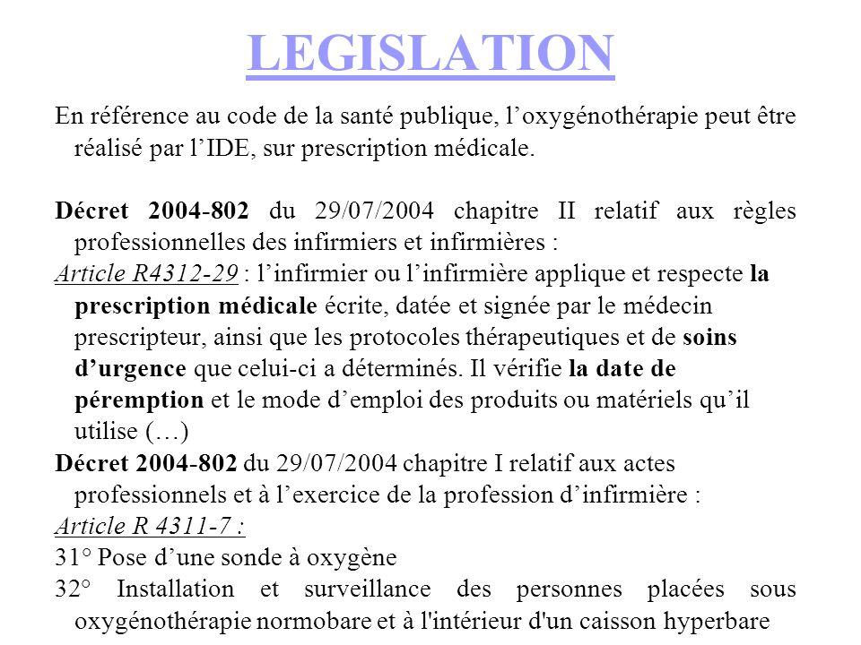 LEGISLATION En référence au code de la santé publique, loxygénothérapie peut être réalisé par lIDE, sur prescription médicale.