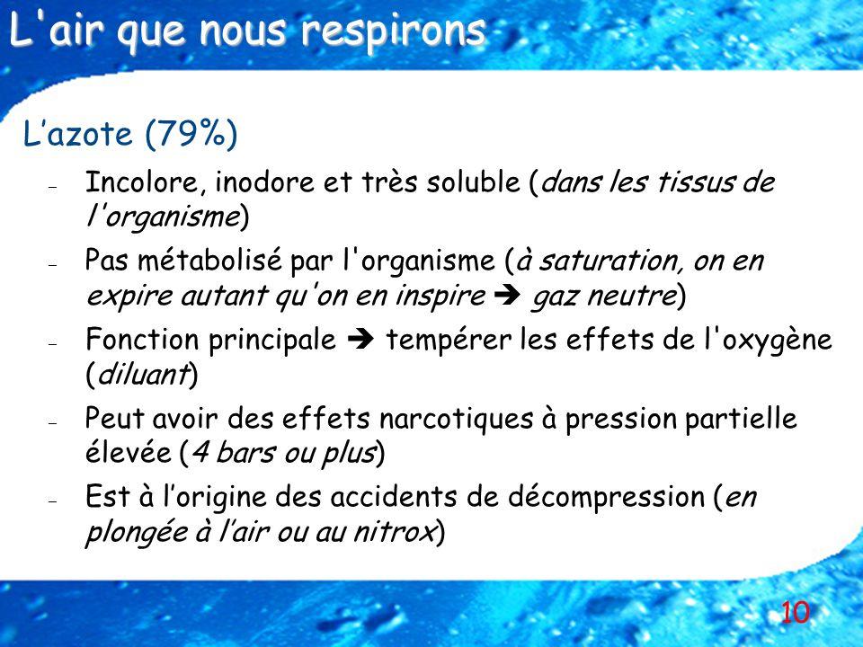 10 Lazote (79%) – – Incolore, inodore et très soluble (dans les tissus de l'organisme) – – Pas métabolisé par l'organisme (à saturation, on en expire