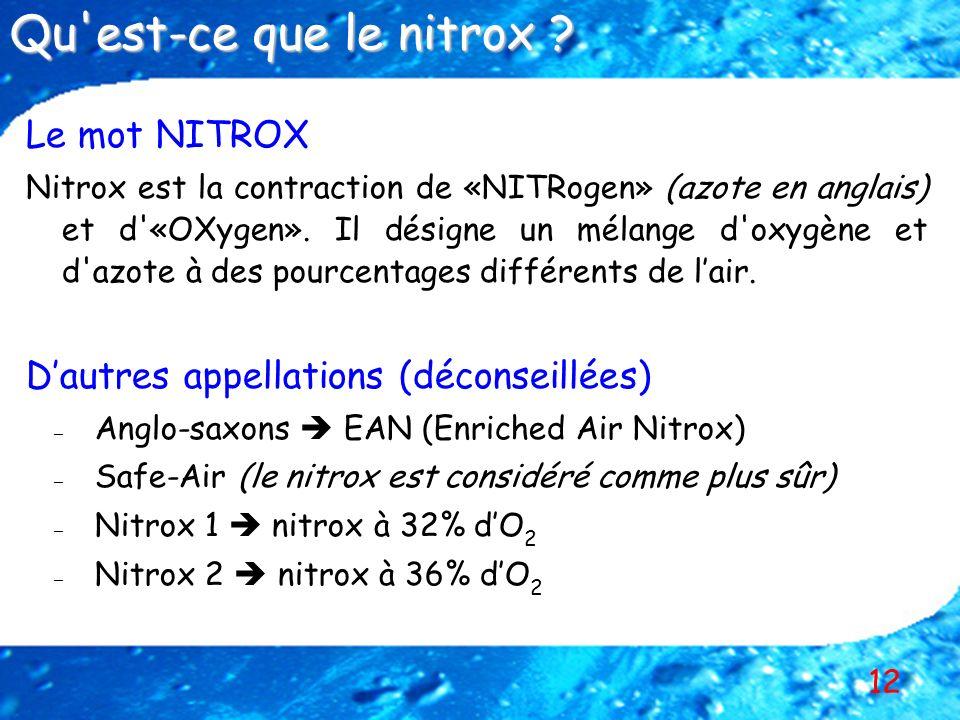 12 Le mot NITROX Nitrox est la contraction de «NITRogen» (azote en anglais) et d'«OXygen». Il désigne un mélange d'oxygène et d'azote à des pourcentag