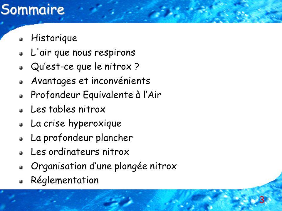 3 Historique L'air que nous respirons Quest-ce que le nitrox ? Avantages et inconvénients Profondeur Equivalente à lAir Les tables nitrox La crise hyp