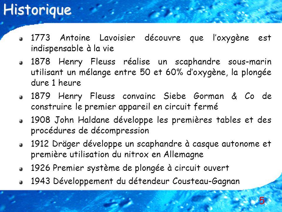 5 1773 Antoine Lavoisier découvre que loxygène est indispensable à la vie 1878 Henry Fleuss réalise un scaphandre sous-marin utilisant un mélange entr