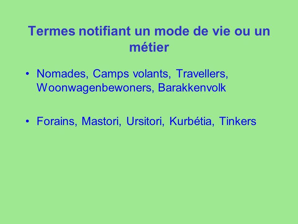 Termes notifiant un mode de vie ou un métier Nomades, Camps volants, Travellers, Woonwagenbewoners, Barakkenvolk Forains, Mastori, Ursitori, Kurbétia, Tinkers