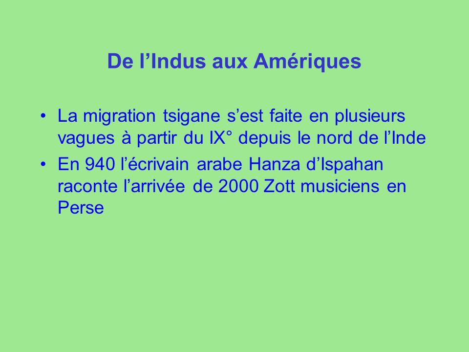 De lIndus aux Amériques La migration tsigane sest faite en plusieurs vagues à partir du IX° depuis le nord de lInde En 940 lécrivain arabe Hanza dIspa