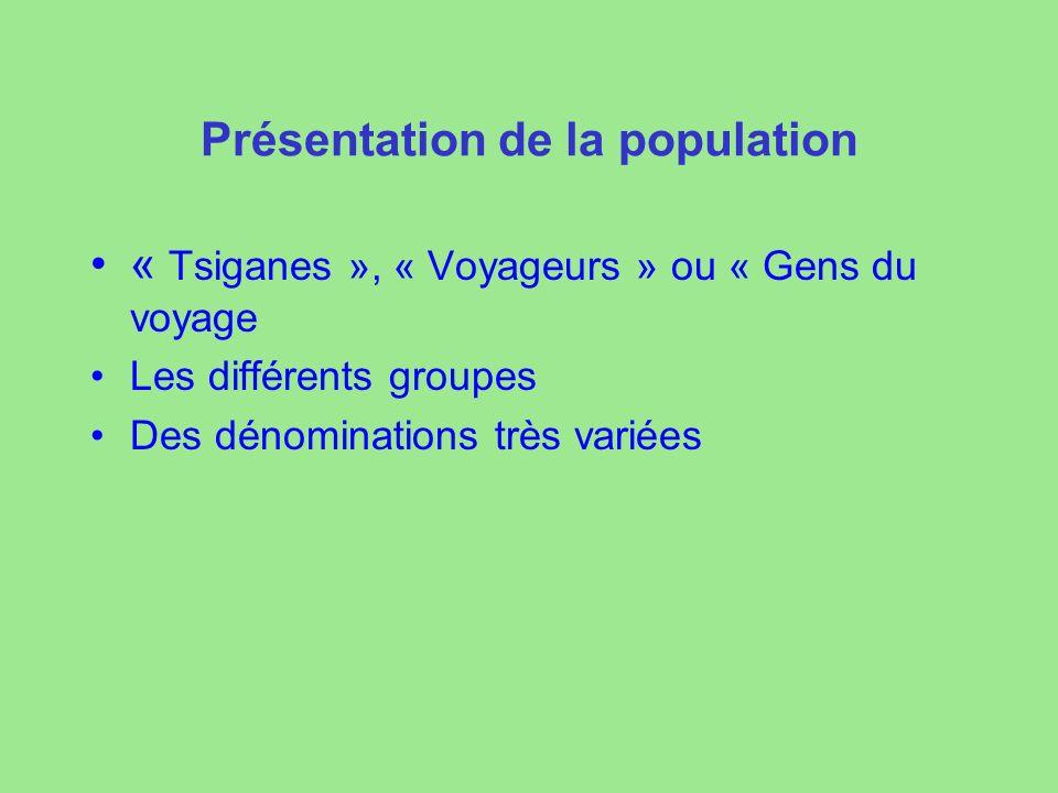 Présentation de la population « Tsiganes », « Voyageurs » ou « Gens du voyage Les différents groupes Des dénominations très variées