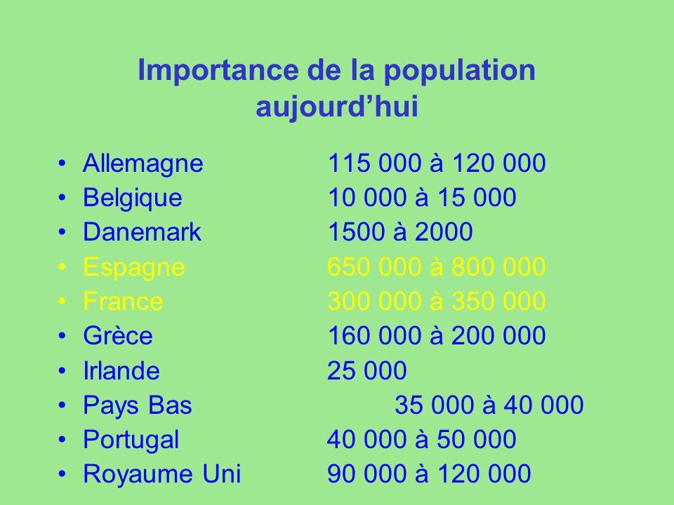 Importance de la population aujourdhui Allemagne115 000 à 120 000 Belgique10 000 à 15 000 Danemark1500 à 2000 Espagne650 000 à 800 000 France300 000 à 350 000 Grèce160 000 à 200 000 Irlande25 000 Pays Bas35 000 à 40 000 Portugal40 000 à 50 000 Royaume Uni90 000 à 120 000