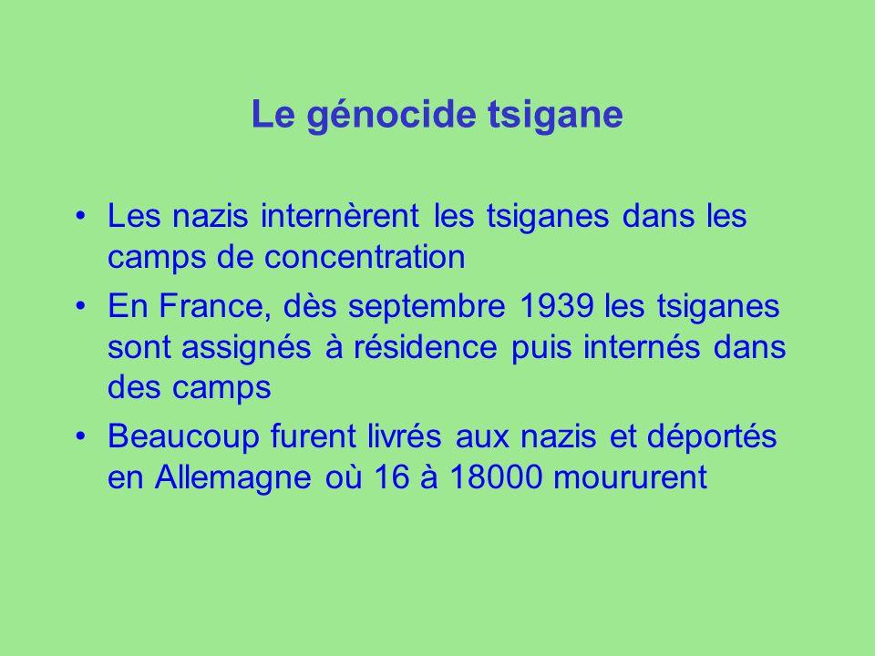 Le génocide tsigane Les nazis internèrent les tsiganes dans les camps de concentration En France, dès septembre 1939 les tsiganes sont assignés à résidence puis internés dans des camps Beaucoup furent livrés aux nazis et déportés en Allemagne où 16 à 18000 moururent