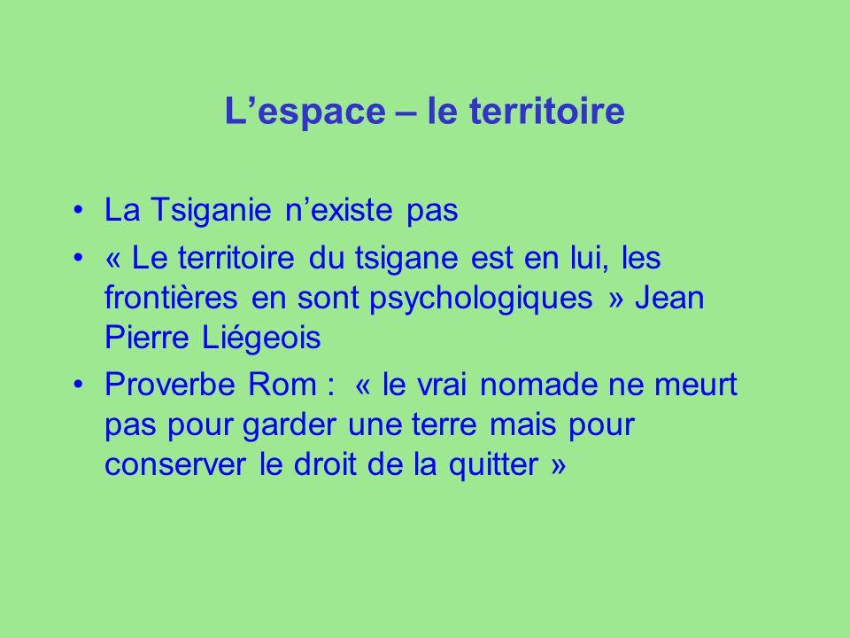 Lespace – le territoire La Tsiganie nexiste pas « Le territoire du tsigane est en lui, les frontières en sont psychologiques » Jean Pierre Liégeois Pr