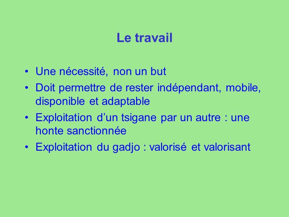 Le travail Une nécessité, non un but Doit permettre de rester indépendant, mobile, disponible et adaptable Exploitation dun tsigane par un autre : une