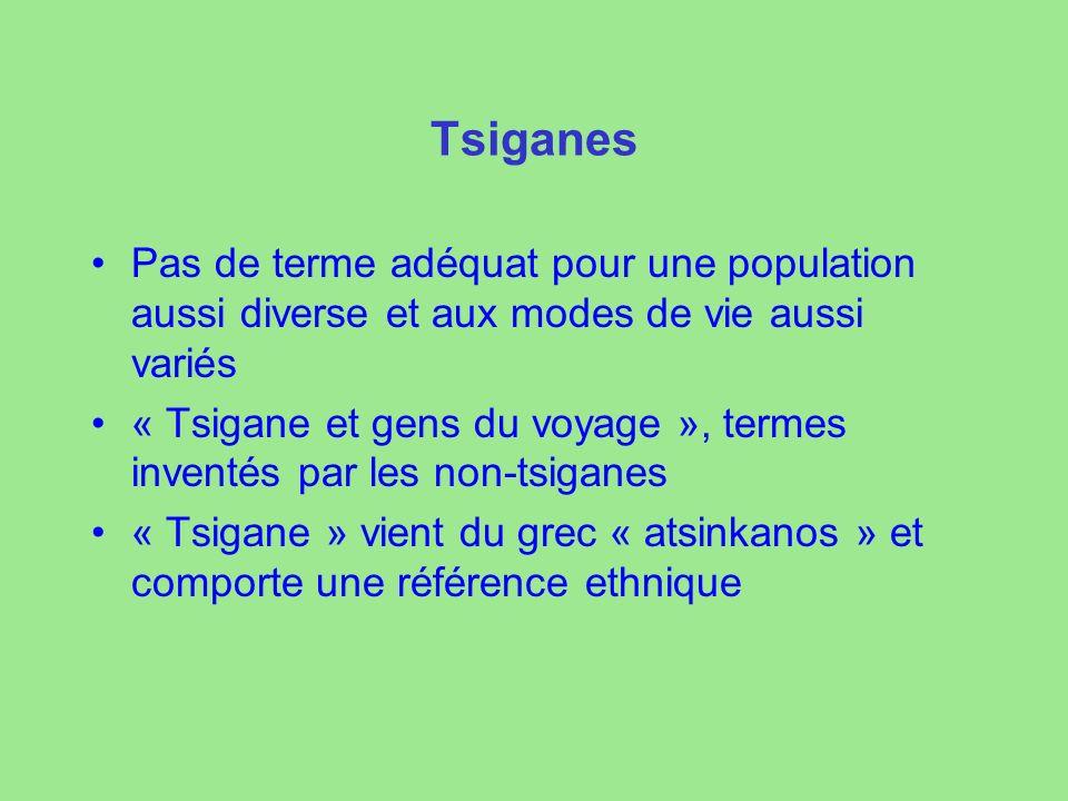 Tsiganes Pas de terme adéquat pour une population aussi diverse et aux modes de vie aussi variés « Tsigane et gens du voyage », termes inventés par les non-tsiganes « Tsigane » vient du grec « atsinkanos » et comporte une référence ethnique