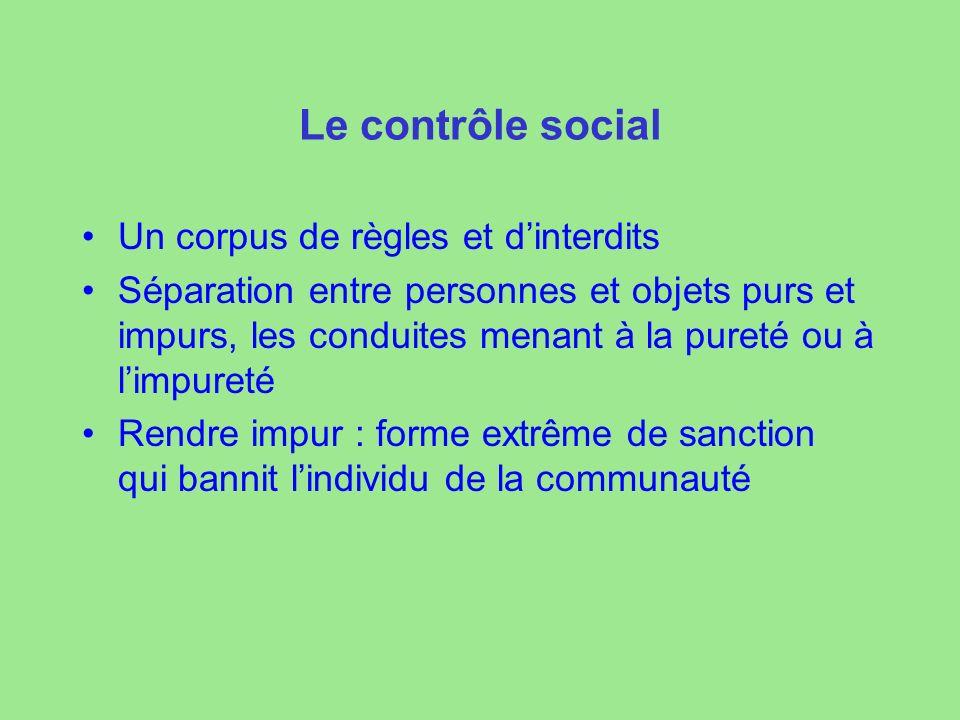 Le contrôle social Un corpus de règles et dinterdits Séparation entre personnes et objets purs et impurs, les conduites menant à la pureté ou à limpur