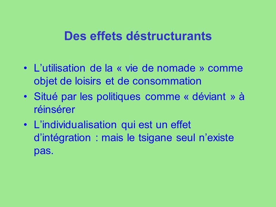Des effets déstructurants Lutilisation de la « vie de nomade » comme objet de loisirs et de consommation Situé par les politiques comme « déviant » à réinsérer Lindividualisation qui est un effet dintégration : mais le tsigane seul nexiste pas.