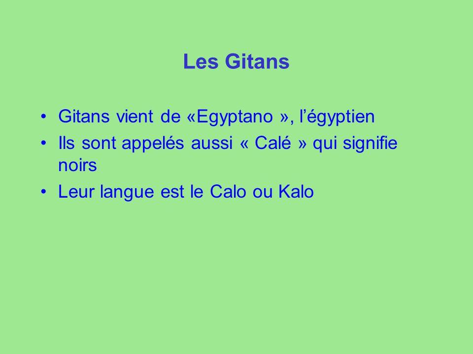 Les Gitans Gitans vient de «Egyptano », légyptien Ils sont appelés aussi « Calé » qui signifie noirs Leur langue est le Calo ou Kalo