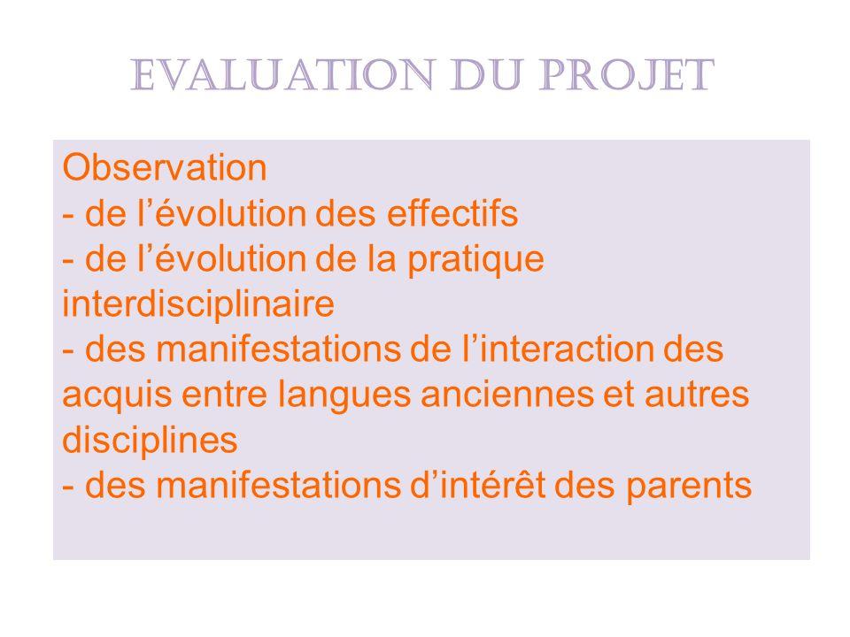 Observation - de lévolution des effectifs - de lévolution de la pratique interdisciplinaire - des manifestations de linteraction des acquis entre lang