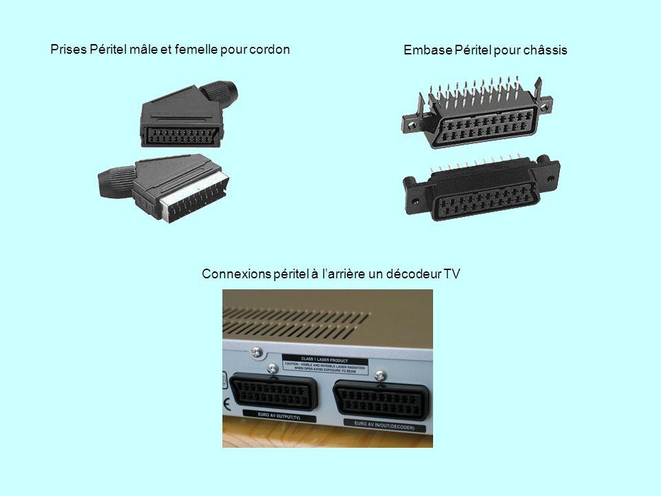 Prises Péritel mâle et femelle pour cordon Embase Péritel pour châssis Connexions péritel à larrière un décodeur TV