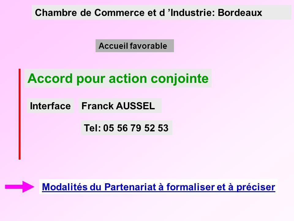 Accord pour action conjointe Modalités du Partenariat à formaliser et à préciser Franck AUSSEL Accueil favorable Chambre de Commerce et d Industrie: Bordeaux Interface Tel: 05 56 79 52 53