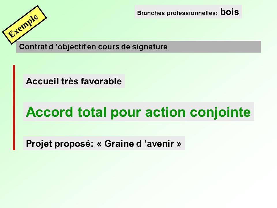Accueil très favorable Accord total pour action conjointe Projet proposé: « Graine d avenir » Contrat d objectif en cours de signature Branches professionnelles: bois Exemple
