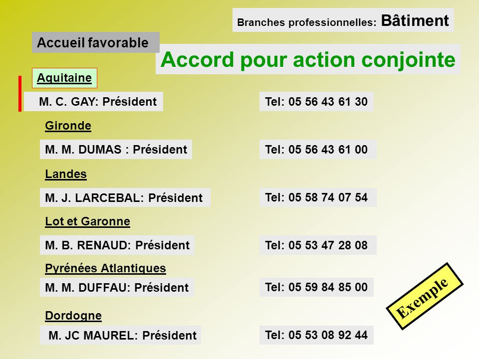 Accord pour action conjointe M.
