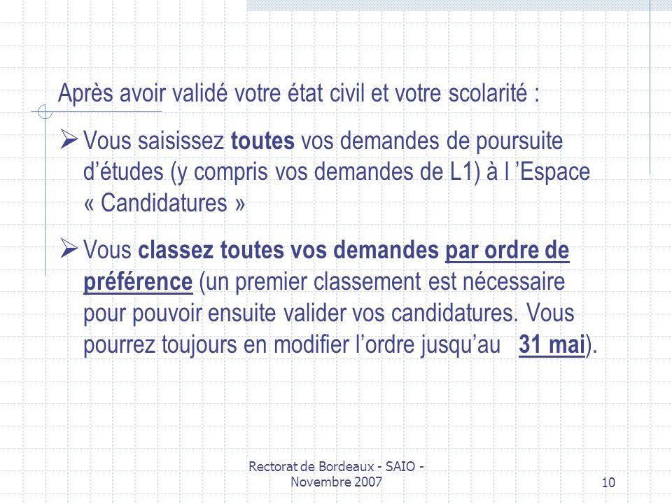 Rectorat de Bordeaux - SAIO - Novembre 200710 Après avoir validé votre état civil et votre scolarité : Vous saisissez toutes vos demandes de poursuite