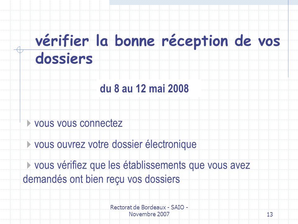 Rectorat de Bordeaux - SAIO - Novembre 200713 vous vous connectez vous ouvrez votre dossier électronique vous vérifiez que les établissements que vous