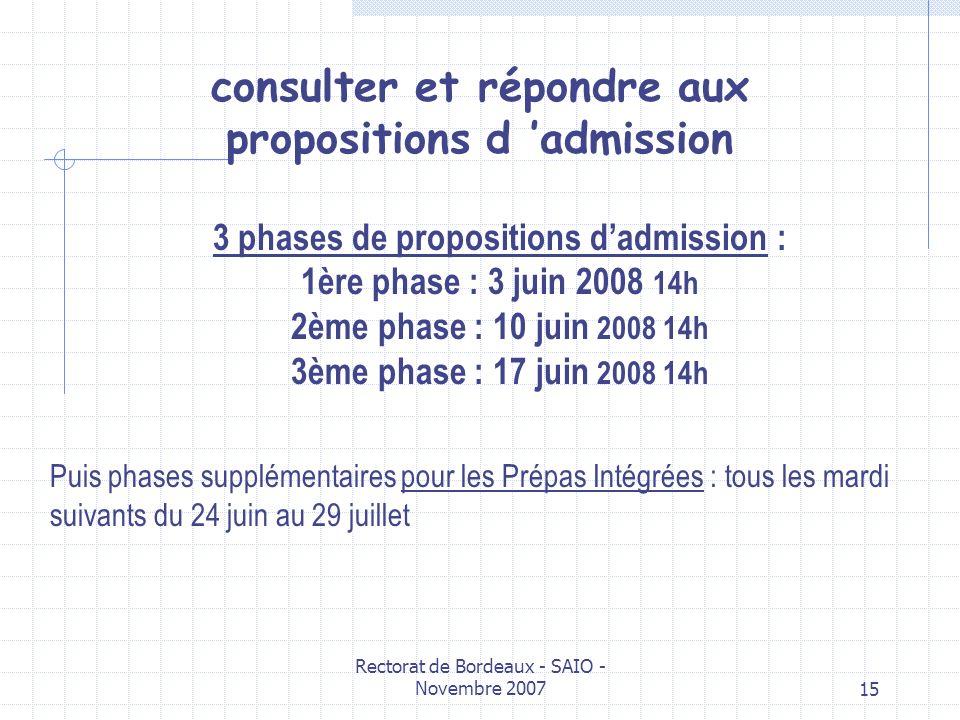 Rectorat de Bordeaux - SAIO - Novembre 200715 consulter et répondre aux propositions d admission 3 phases de propositions dadmission : 1ère phase : 3