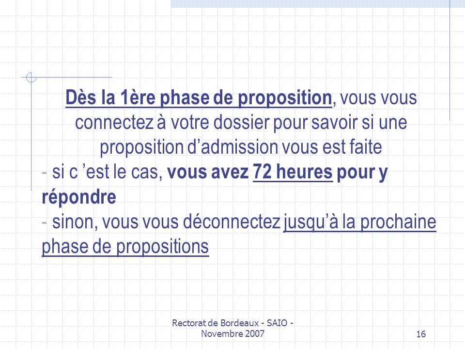 Rectorat de Bordeaux - SAIO - Novembre 200716 Dès la 1ère phase de proposition, vous vous connectez à votre dossier pour savoir si une proposition dad