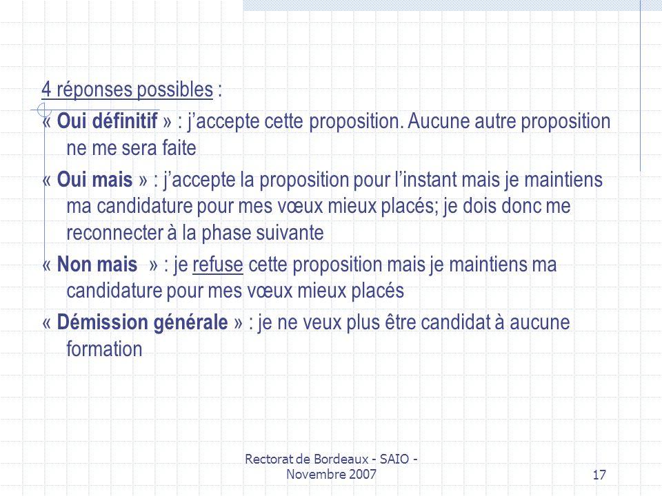 Rectorat de Bordeaux - SAIO - Novembre 200717 4 réponses possibles : « Oui définitif » : jaccepte cette proposition. Aucune autre proposition ne me se