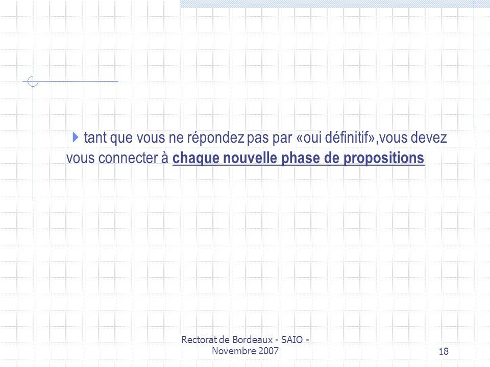 Rectorat de Bordeaux - SAIO - Novembre 200718 tant que vous ne répondez pas par «oui définitif»,vous devez vous connecter à chaque nouvelle phase de p