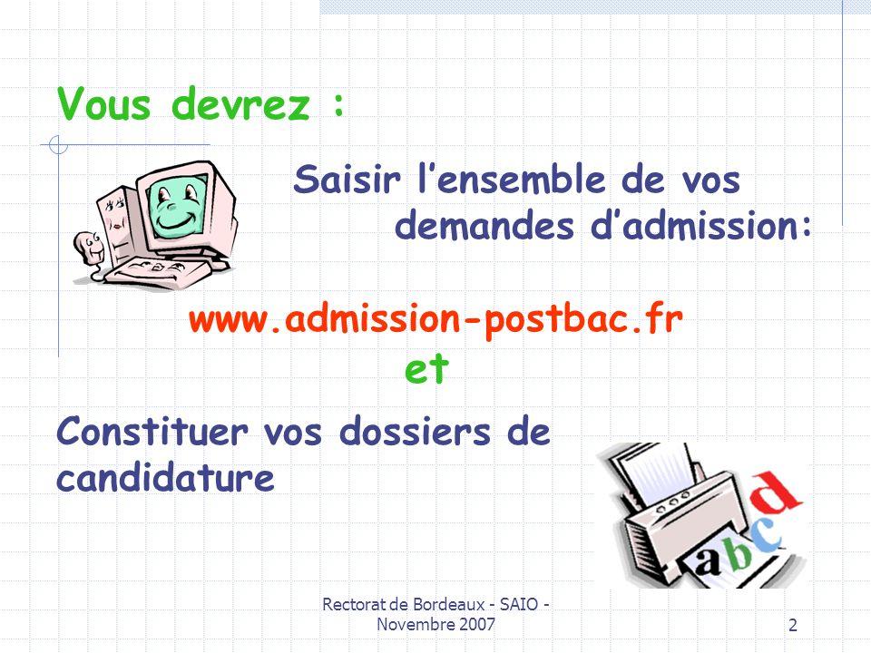 Rectorat de Bordeaux - SAIO - Novembre 20072 Vous devrez : Saisir lensemble de vos demandes dadmission: www.admission-postbac.fr et Constituer vos dos
