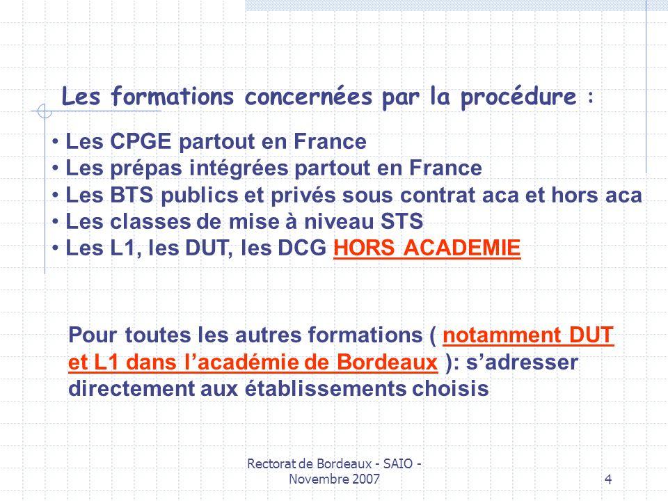 Rectorat de Bordeaux - SAIO - Novembre 20074 Les formations concernées par la procédure : Les CPGE partout en France Les prépas intégrées partout en F