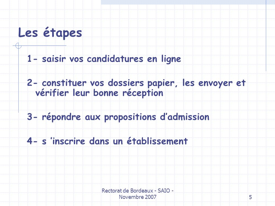 Rectorat de Bordeaux - SAIO - Novembre 20075 Les étapes 1- saisir vos candidatures en ligne 2- constituer vos dossiers papier, les envoyer et vérifier