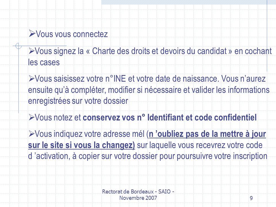 Rectorat de Bordeaux - SAIO - Novembre 20079 Vous vous connectez Vous signez la « Charte des droits et devoirs du candidat » en cochant les cases Vous