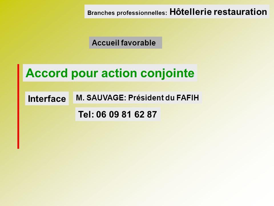 Accord pour action conjointe M. SAUVAGE: Président du FAFIH Accueil favorable Interface Tel: 06 09 81 62 87 Branches professionnelles: Hôtellerie rest