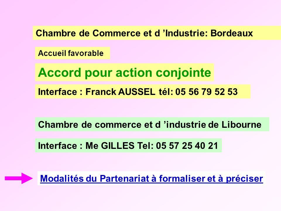 Accord pour action conjointe Modalités du Partenariat à formaliser et à préciser Chambre de commerce et d industrie de Libourne Accueil favorable Cham