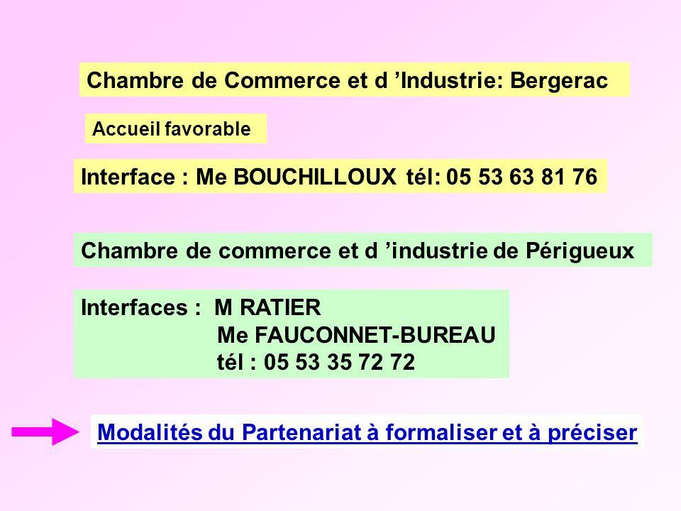 Modalités du Partenariat à formaliser et à préciser Chambre de commerce et d industrie de Périgueux Accueil favorable Chambre de Commerce et d Industr