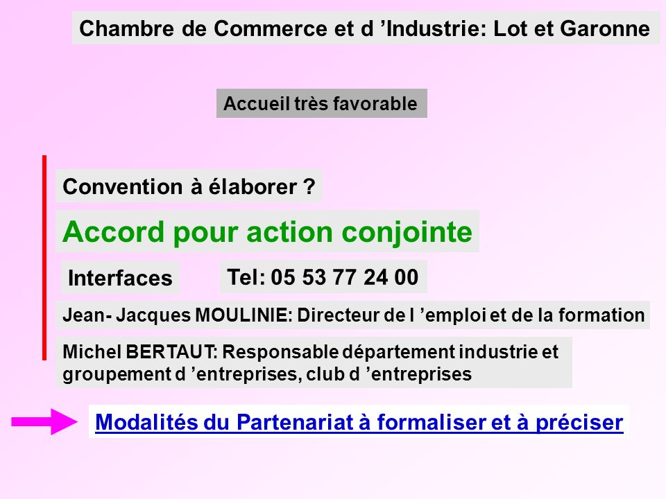Convention à élaborer ? Accord pour action conjointe Modalités du Partenariat à formaliser et à préciser Jean- Jacques MOULINIE: Directeur de l emploi