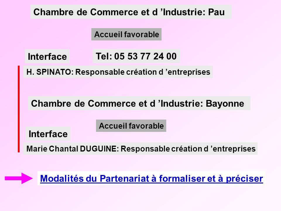Modalités du Partenariat à formaliser et à préciser H. SPINATO: Responsable création d entreprises Accueil favorable Chambre de Commerce et d Industri
