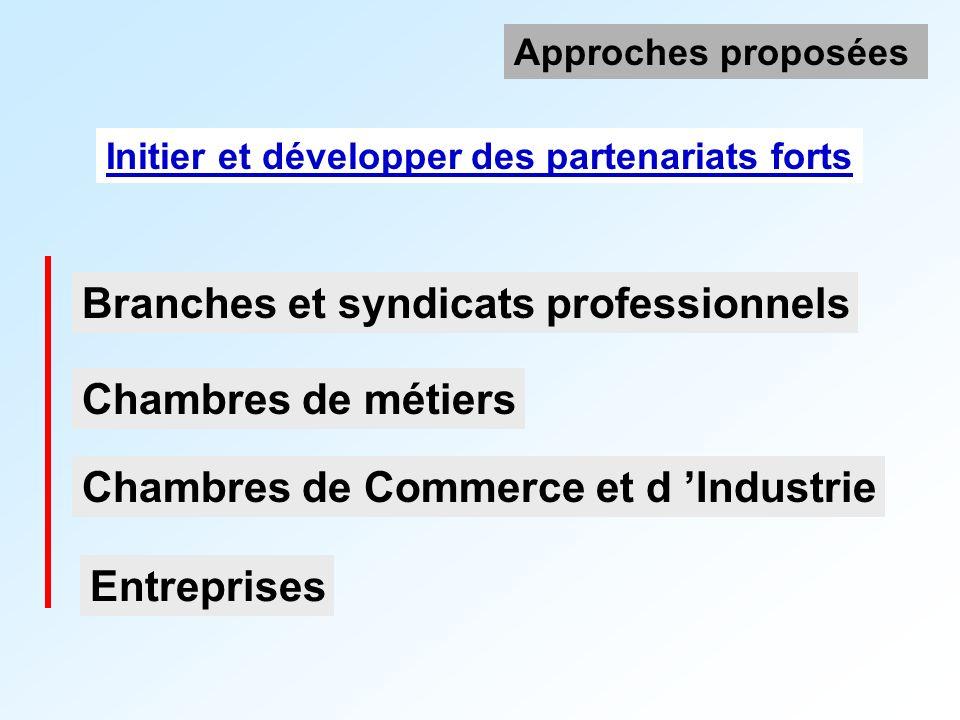 Branches et syndicats professionnels Initier et développer des partenariats forts Approches proposées Chambres de Commerce et d Industrie Chambres de